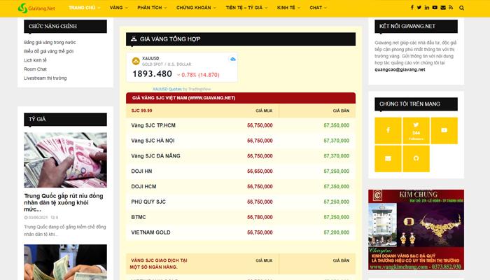 Trang web theo dõi giá vàng phổ biến nhất - Giavang.net