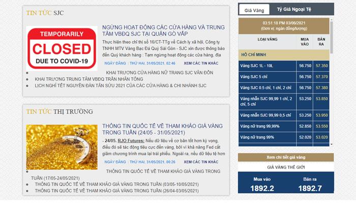 Website cập nhật thông tin giá vàng - Sjc.com.vn