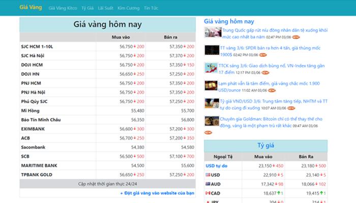 Web app theo dõi giá vàng Việt Nam - Giavangsjc.net